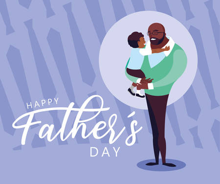 happy father day card with dad and son vector illustration design Stock Illustratie