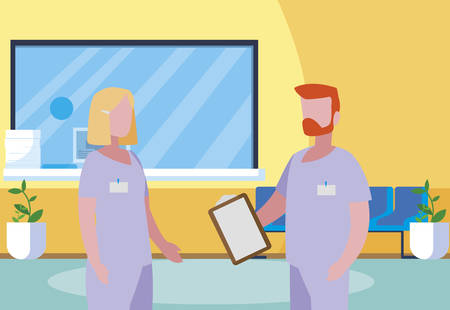couple medicine workers in hospital reception vector illustration design Stock Illustratie