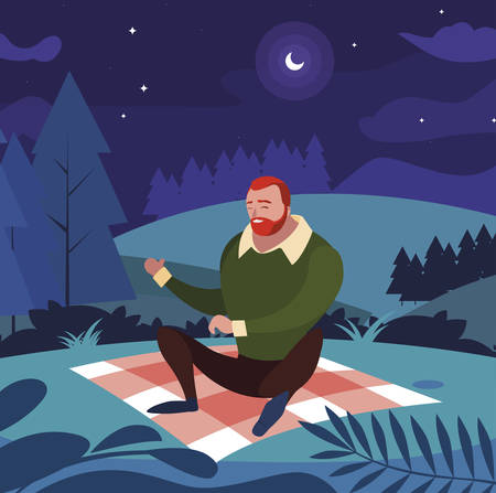 man seated in the field picnic day vector illustration design Stock Illustratie