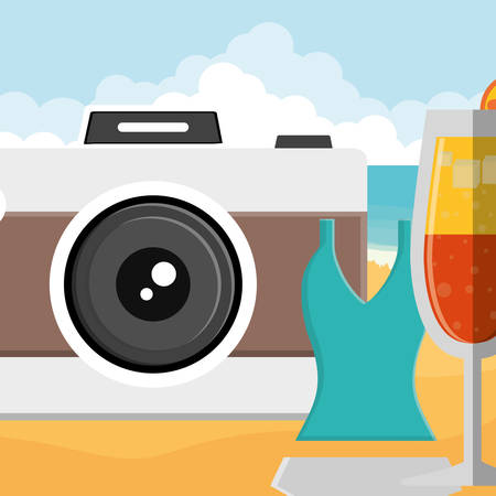 glass with tropical cocktail and swimsuit vector illustration design