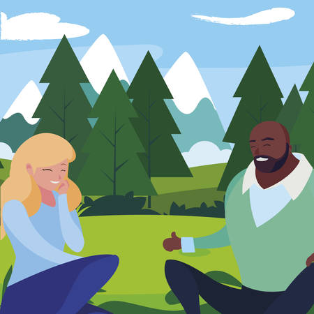 interracial young couple seated in the field vector illustration design