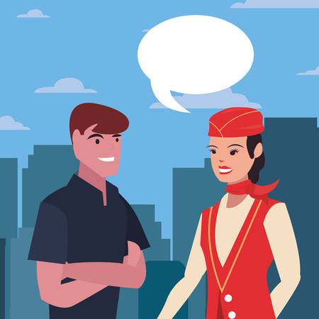 flight attendant and man talking labour day vector illustration