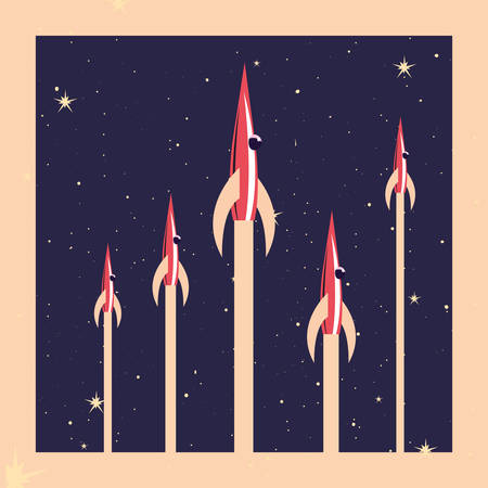 rocket ships explorer space galaxy vector illustration Illusztráció