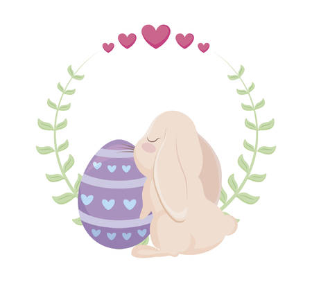 cute rabbit with egg of easter and crown of leaves vector illustration design