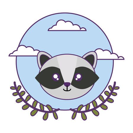 head of cute little raccoon baby with crown leafs vector illustration design