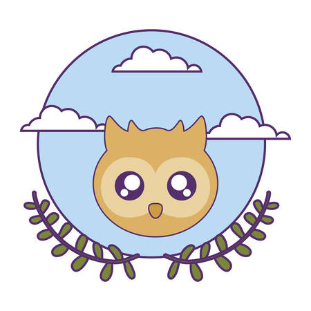 head of cute little owl baby with crown leafs vector illustration design