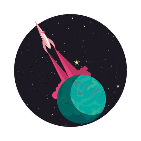 launcher rocket with planet space vector illustration design
