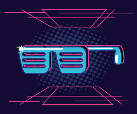 party glasses of eighties retro vector illustration design