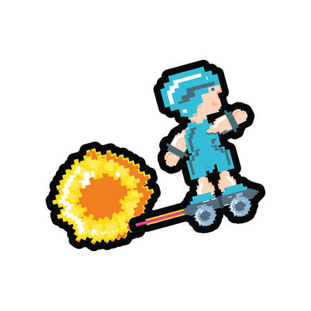 video game avatar pixelated with skateboard vector illustration design Ilustracja