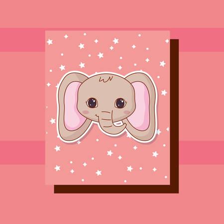 cute elephant kawaii animals card vector illustration