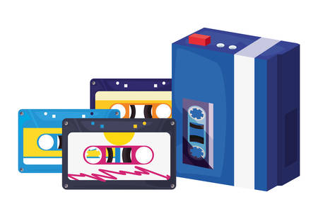portable music cassettes retro 80s style vector illustration