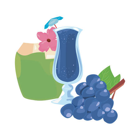 summer time holiday cocktail coconut grapes   vector illustration Ilustrace