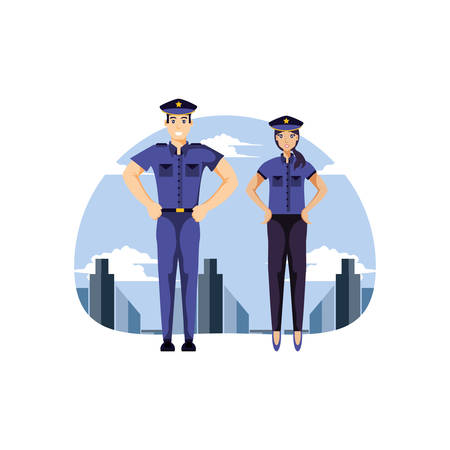 police officer couple with cityscape vector illustration design
