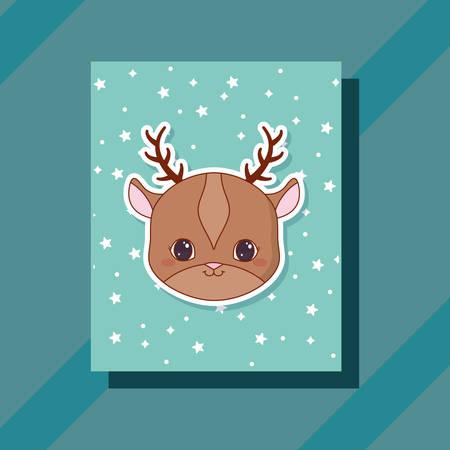 cute deer  animals card vector illustration