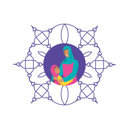 islamic mother with daughter in mandala vector illustration design