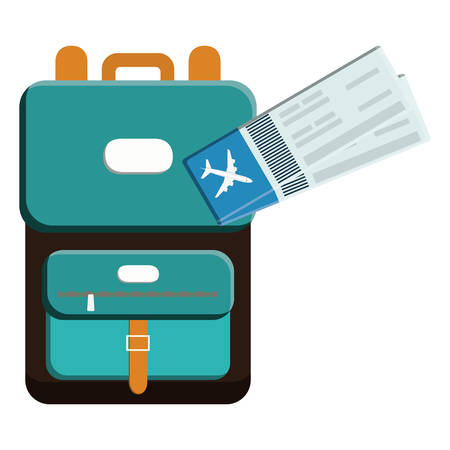 suitcase travel with tickets flight vector illustration design