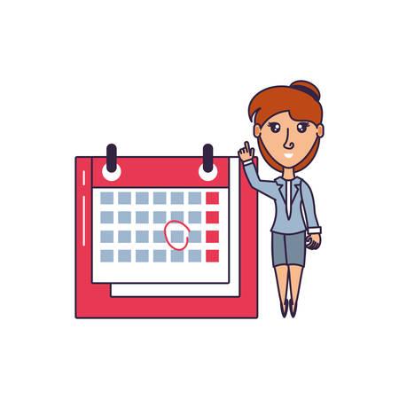 business woman with calendar reminder vector illustration design