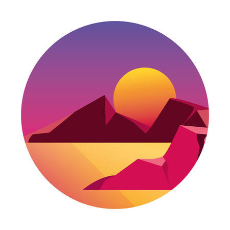 geometric abstract landscape desert sun vector illustration