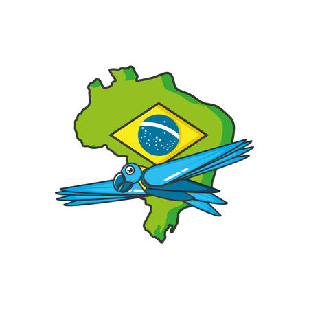 map of brazil with parrot animal vector illustration design