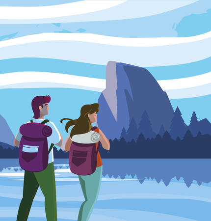 adventurous couple with travelbag in the mountains vector illustration design