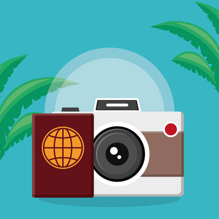 passport document with camera photographic vector illustration design Illustration