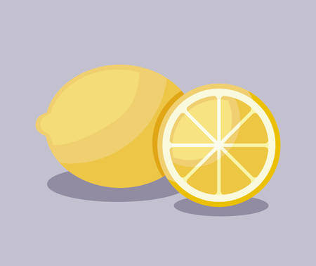 fresh oranges fruits and lemon isolated icon vector illustration design