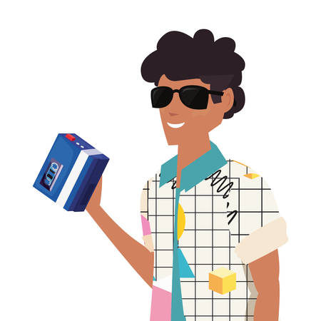 man with portable music retro 80s style vector illustration