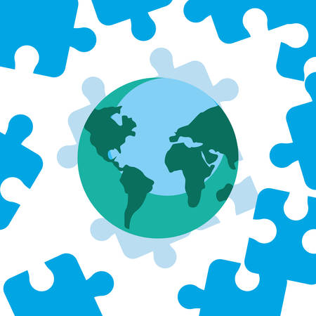 world blue puzzles autism day vector illustration Illustration