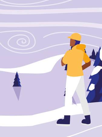 young man in snowscape scene vector illustration design