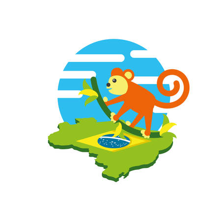 monkey animal with map of brazil vector illustration design Standard-Bild - 128763929