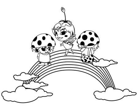 fungus elfs and fairy with rainbow vector illustration design Ilustração