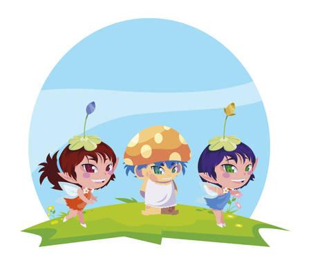 beautiful magic fairies with fungu elf in the garden vector illustration design Ilustração