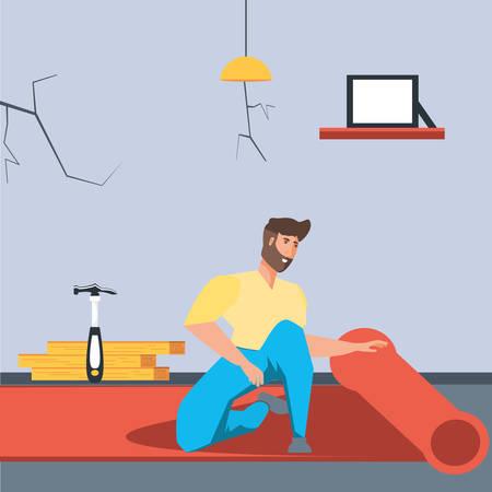 man in interior of house under construction vector illustration design Standard-Bild - 128766538
