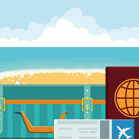 suitcase travel with passport document vector illustration design Stock Illustratie