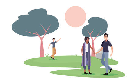 people activity outdoors in the park with trees vector illustration