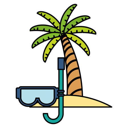 trees palms beach scene with snorkel vector illustration design