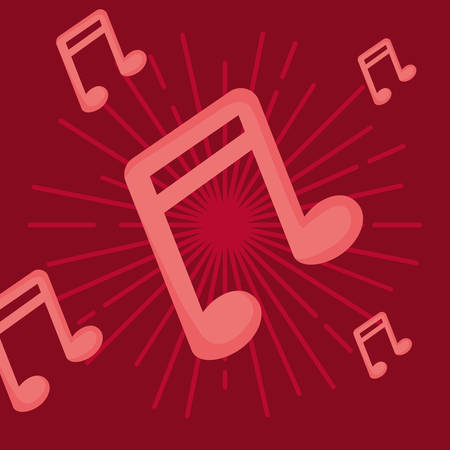 musical notes over red background, colorful design. vector illustration