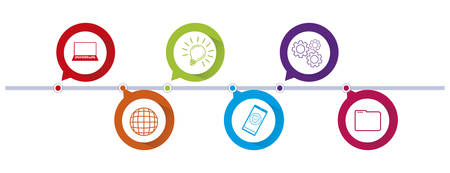 circles and colors tech infographics vector illustration design Standard-Bild - 128780120