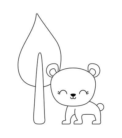 cute bear animal with tree plant vector illustration design Stock Illustratie
