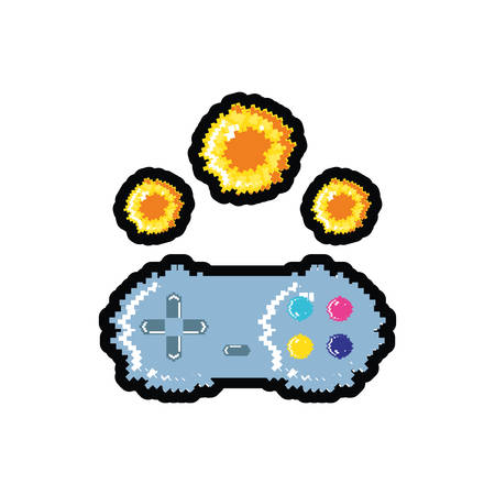 video game control with fire balls pixelated vector illustration design
