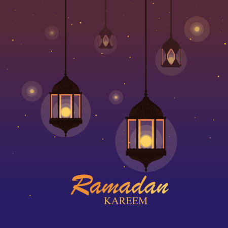 ramadan kareem lamps hanging traditional vector illustration design Stockfoto - 128781385