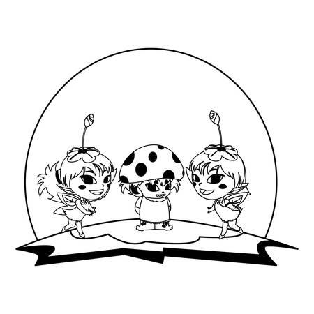 beautiful magic fairies with fungu elf in the garden vector illustration design  イラスト・ベクター素材