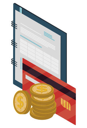 office notepad with credit card vector illustration design