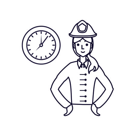 firefighter professional female with clock time vector illustration design 스톡 콘텐츠 - 128790569