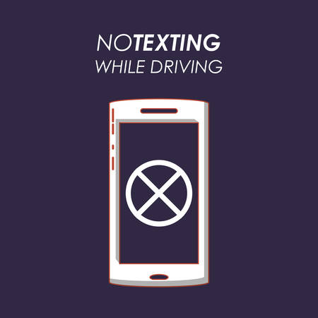 drive safely design with smartphone icon and not texting concept over blue background, colorful design vector illustration