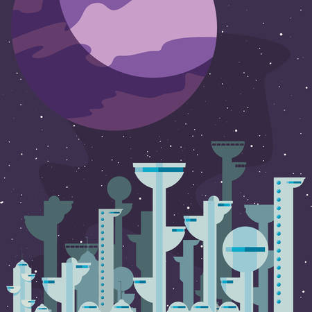 future buildings architecture planet city space vector illustration Standard-Bild - 128803836
