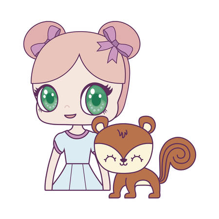 cute little doll with chipmunk animal vector illustration design Ilustração