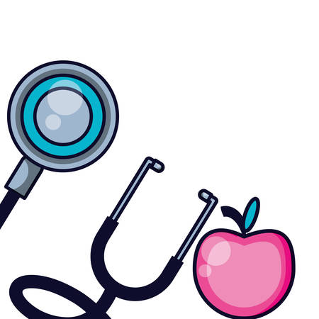 stethoscope medical tool with fresh apple fruit vector illustration design