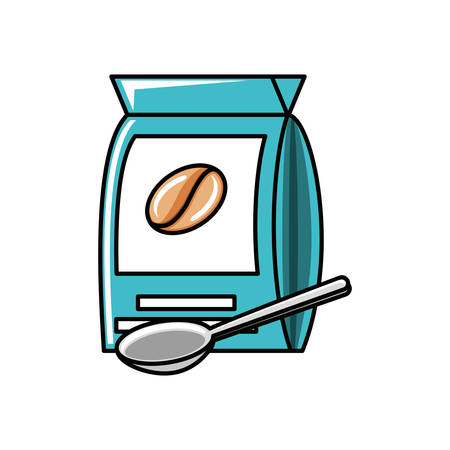 bag of coffee with spoon vector illustration design