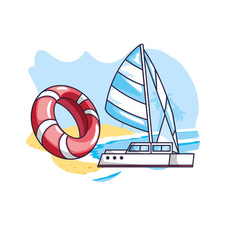 sailboat travel in the beach and float vector illustration design  イラスト・ベクター素材